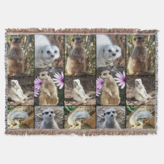 Meerkat Photo Collage Woven Throw Blanket