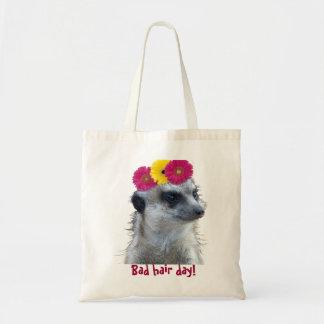 Meerkat with 3 bright gerber daisies bags