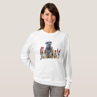 Meerkat With Meerkats Logo, Ladies Long Sleeve Tee