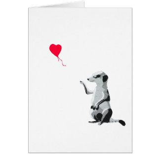 Meerkat with the heart-shaped Valentine balloon Card