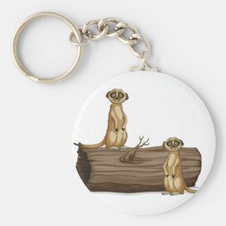 Meerkats Basic Round Button Keychain