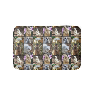 Meerkats In A Photo Collage, Memory Foam Bath Mat