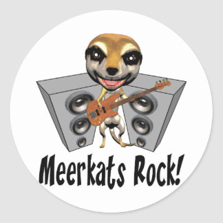Meerkats Rock Classic Round Sticker
