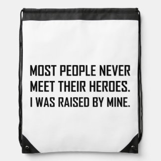 Meet Heroes Raised By Mine Drawstring Bag
