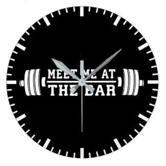 Meet Me At The Bar - Barbell - Workout Large Clock