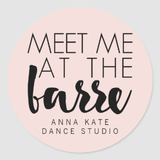 Meet Me at the Barre | Pink & Black Ballet Studio Classic Round Sticker