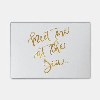 Meet Me at The Sea Gold Faux Foil Motivational Post-it Notes