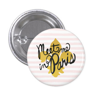 Meet Me in Paris Black and Gold 1 Inch Round Button