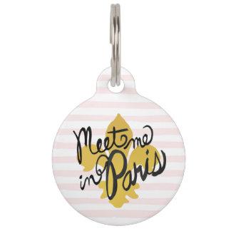 Meet Me in Paris Black and Gold Pet Nametags