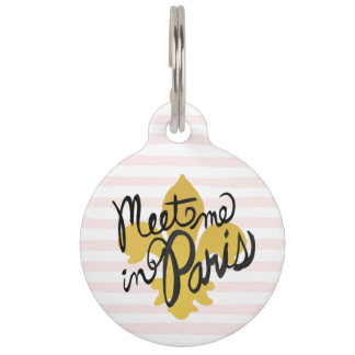 Meet Me in Paris Black and Gold Pet Tag