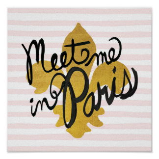 Meet Me in Paris Black and Gold Poster