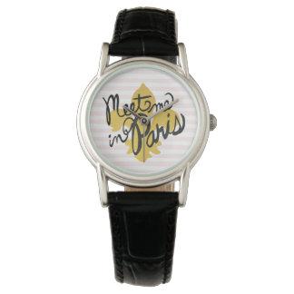 Meet Me in Paris Black and Gold Wristwatch