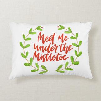 Meet me under the mistletoe - Christmas Wreath Accent Pillow