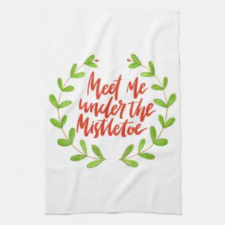 Meet me under the mistletoe - Christmas Wreath Kitchen Towel