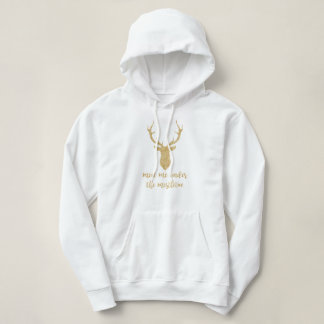 Meet me under the mistletoe - Gold Christmas Deer Hoodie