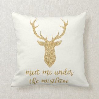 Meet me under the mistletoe - Gold Christmas Deer Throw Pillow