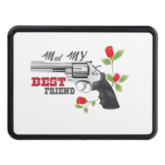 Meet my  best friend a gun with roses trailer hitch cover