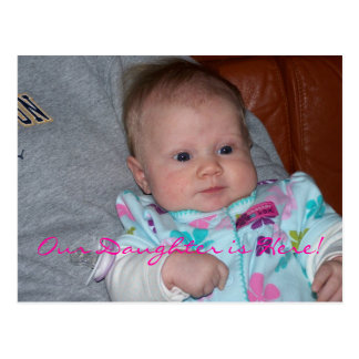Meet Our Daughter Baby Girl Birth Announcement Postcards