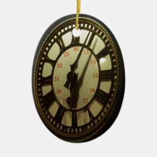 Meet you under the clock ceramic oval ornament