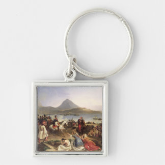 Meeting Between General Nicolas Joseph Maison Silver-Colored Square Keychain