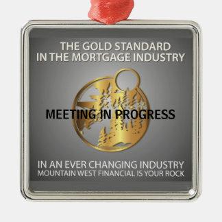 Meeting in Progress Silver-Colored Square Ornament