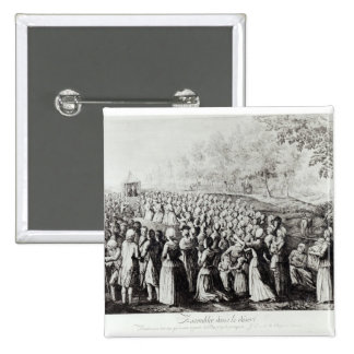 Meeting in the Desert, engraved by L. Bellotti 2 Inch Square Button