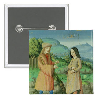 Meeting of Aeneas and Anne, the sister of Dido 2 Inch Square Button