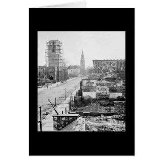 Meeting Street and Church Ruins in Charleston 1865 Greeting Card
