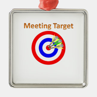 meeting target Silver-Colored square ornament