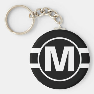 Mega Black Retro Monogrammed Basic Round Button Keychain