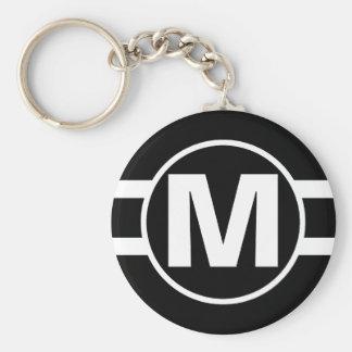 Mega Black Retro Monogrammed Keychain