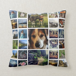 Mega Deluxe 27 Instagram Photos Collage Throw Pillow