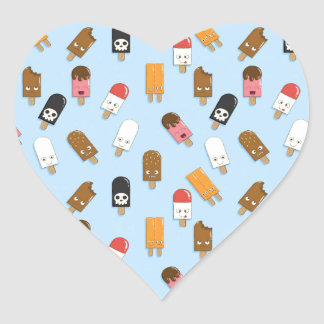 Mega Ice Cream Pattern Heart Sticker