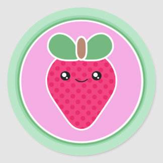 Mega Kawaii Sweet Strawberry Classic Round Sticker