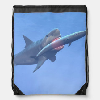 Megalodon eating a whale drawstring bag