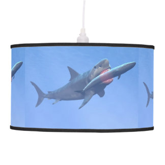 Megalodon eating a whale pendant lamp