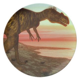 Megalosaurus dinosaur walking toward the ocean plate