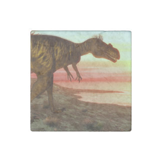 Megalosaurus dinosaur walking toward the ocean stone magnets