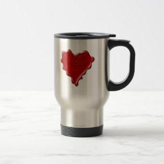 Megan. Red heart wax seal with name Megan Travel Mug