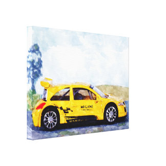 Mégane jaune - digital Work Jean Louis Glineur Canvas Print
