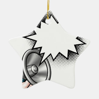 Megaphone Comic Book Speech Bubble Ceramic Ornament