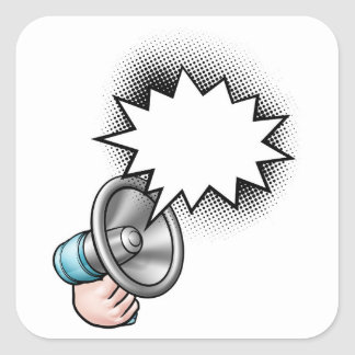 Megaphone Comic Book Speech Bubble Square Sticker