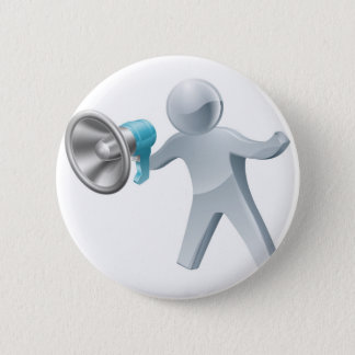 Megaphone silver man 2 inch round button