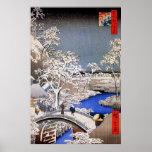 Meguro Drum Bridge and Sunset Hill, Hiroshige Poster