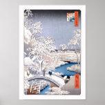 Meguro Drum Bridge Hiroshige Japanese Fine Art Poster