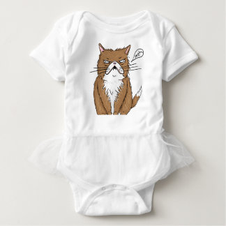 Meh Funny Grumpy Cat Drawing Baby Bodysuit