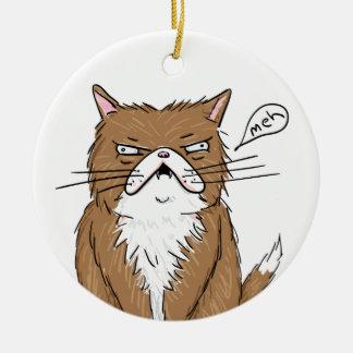 Meh Funny Grumpy Cat Drawing Ceramic Ornament
