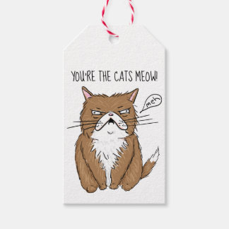 Meh Funny Grumpy Cat Drawing Gift Tags