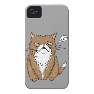 Meh Funny Grumpy Cat Drawing iPhone 4 Case-Mate Case