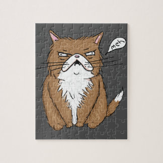 Meh Funny Grumpy Cat Drawing Jigsaw Puzzle